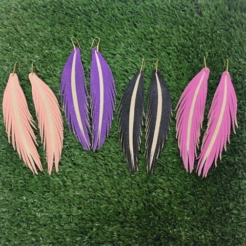 Long Painted Leather Earrings