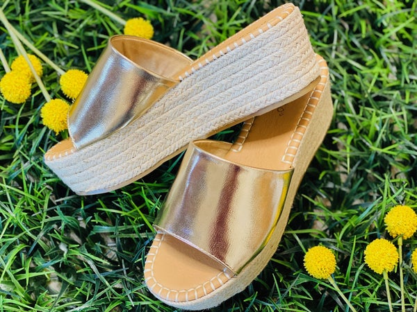 The Gia Espadrilles In Gold
