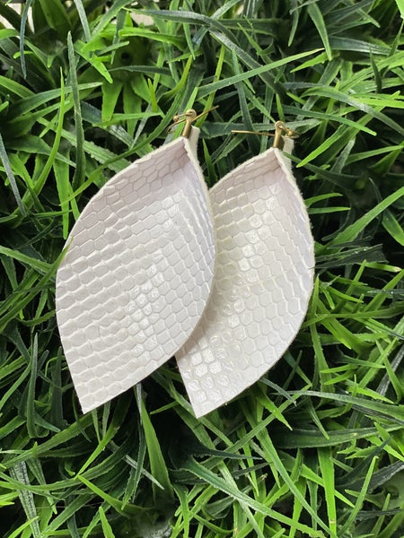 The White Cobra Leather Earrings