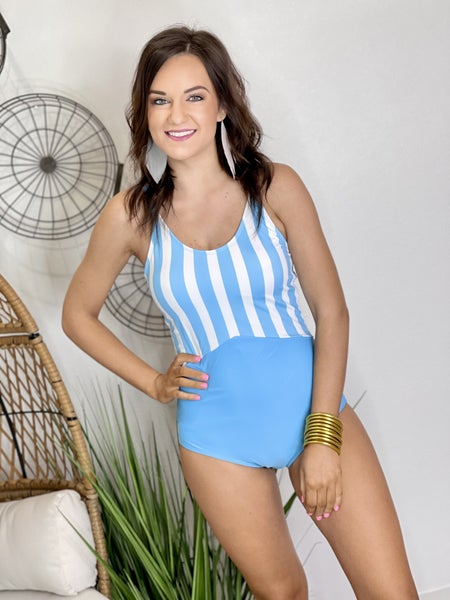 The Striped Solid Swimsuit-3 Colors
