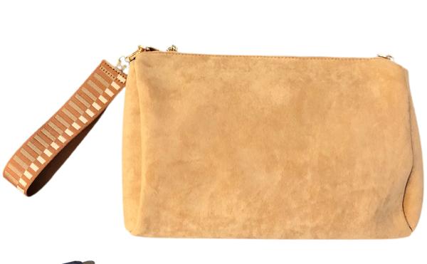 Camel Suede Bag with Wristlet Strap