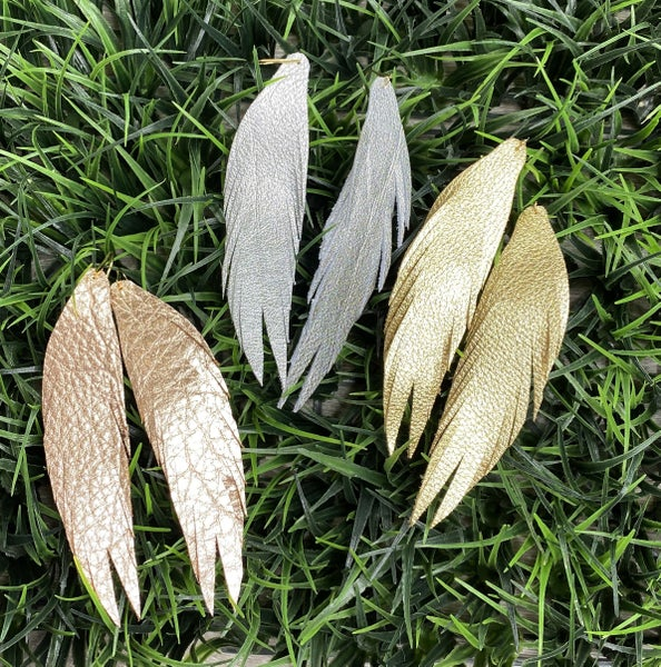Long Feather Leather Earrings