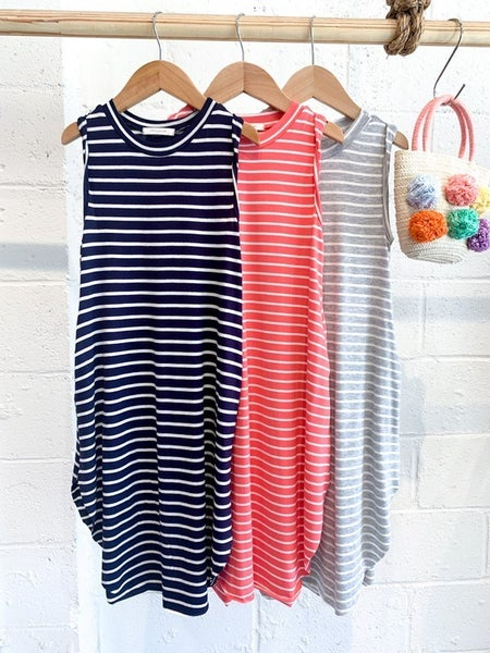 KIDS Striped Maxi Dress-3 Colors