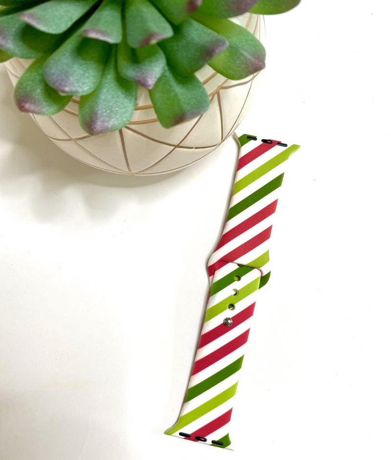 Red & Green Stripes Watch Band