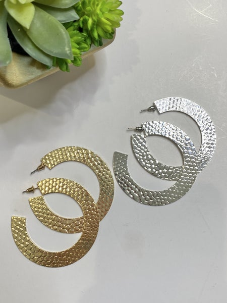 Hammered Flat Hoops