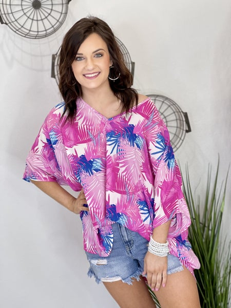 The Bold Palm Poncho Top