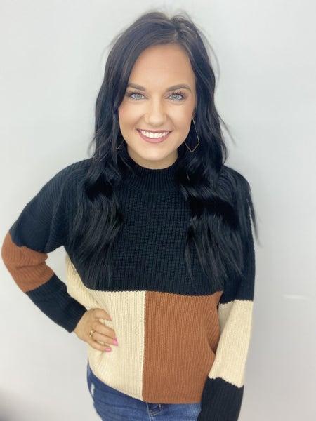Fall Block Sweater Top