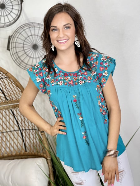 The Teal Sunny Days Top-All Sizes