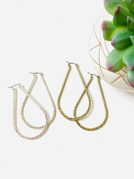 The Textured Drop Earrings-2 Colors
