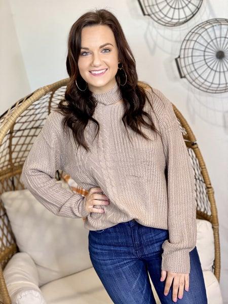 The Sneak a Peek Sweater in Taupe
