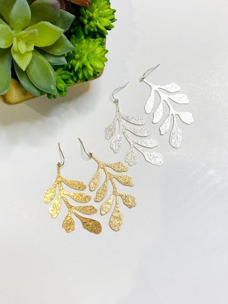 Curved Leaf Earrings-2 Colors