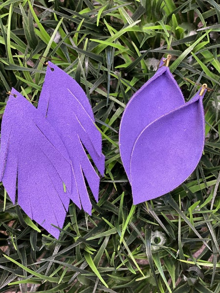 Purple Suede Leather Earrings