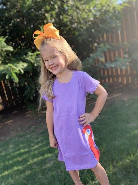 Kids Purple Parrot Dress