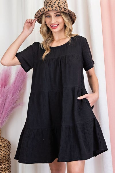 Tiered Shirt Dress - 3 Colors