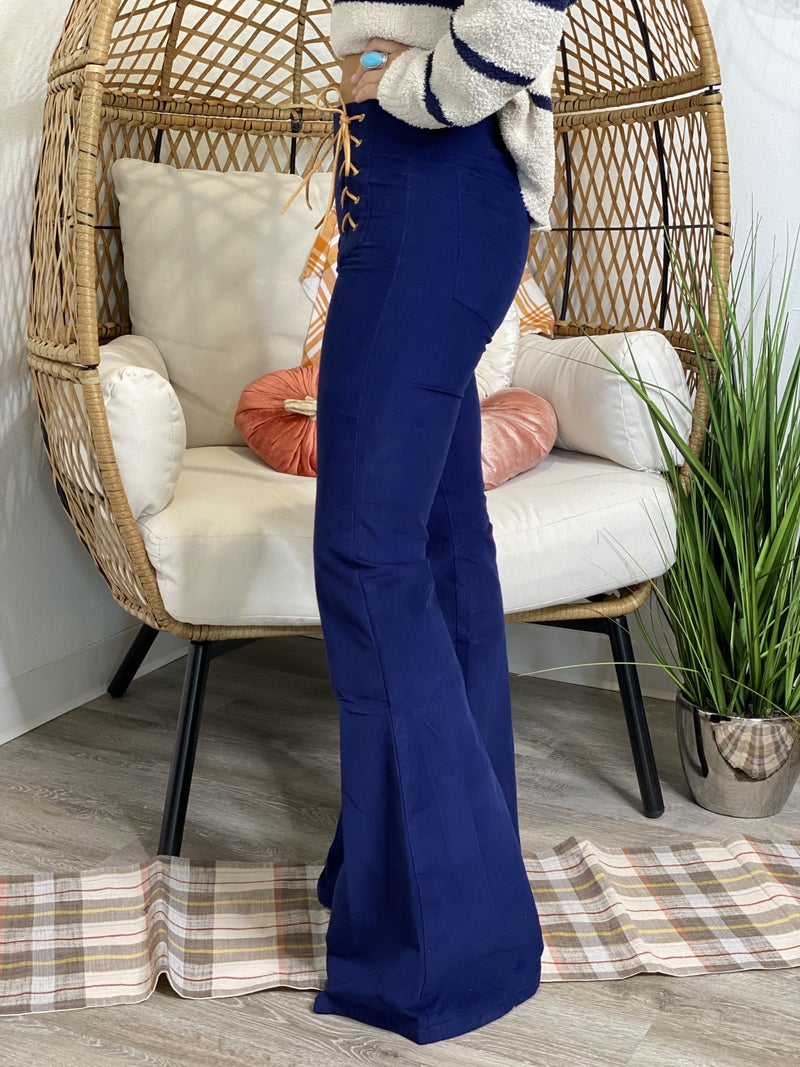 Navy Corded Bell Bottoms