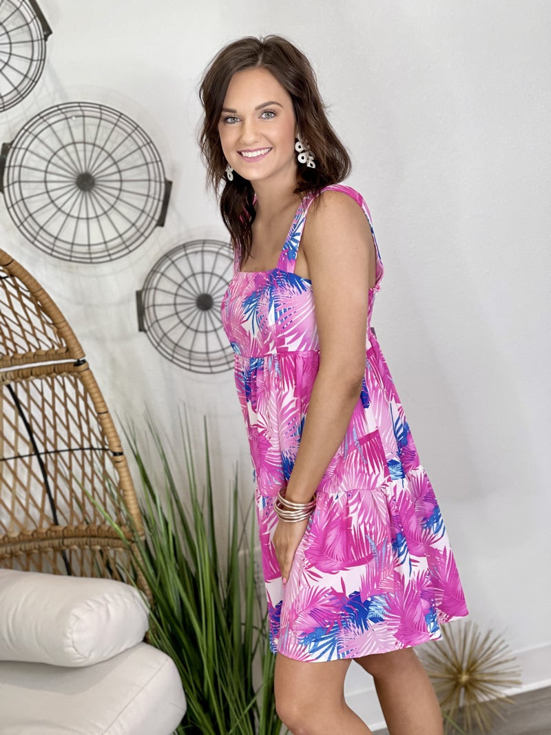 The Bold Palm Tiered Dress