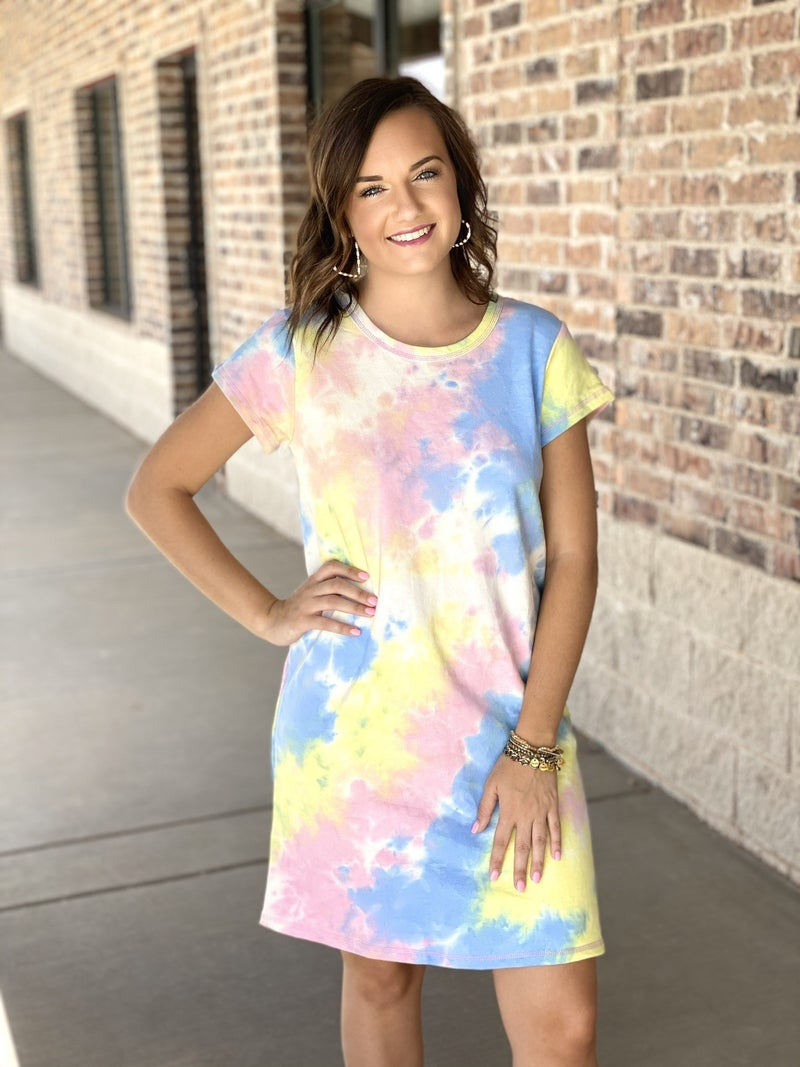 The Tie Dye Tshirt Dress in Yellow