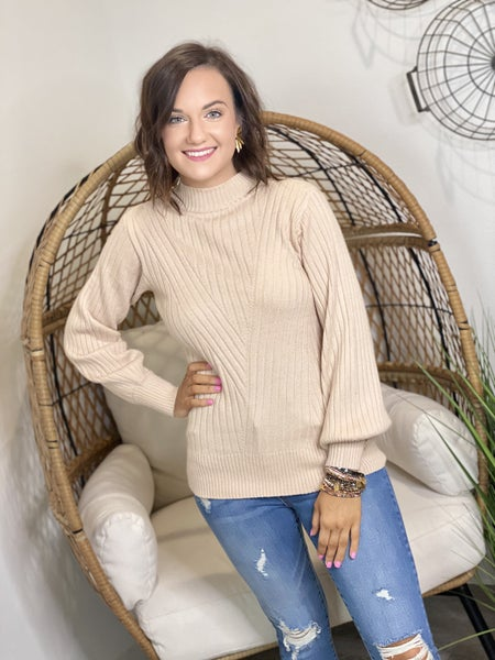 Classy Balloon Sweater in Oatmeal