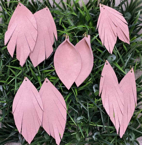 Blush Suede Leather Earrings