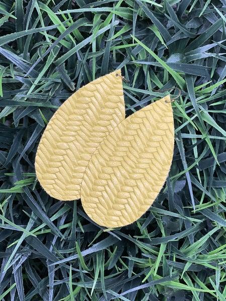 Mustard Herringbone Leather Earrings