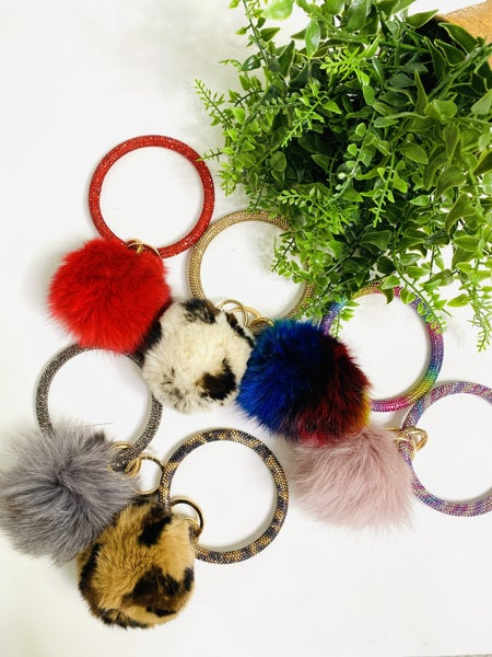 Fuzzy Bling Keyrings-8 Styles
