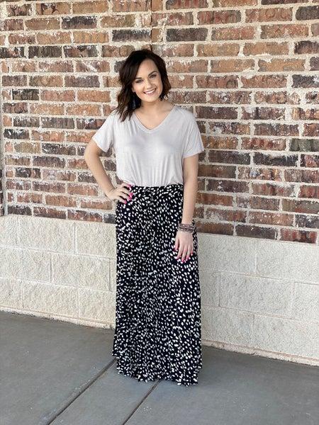 The Pleated Dot Maxi Skirt