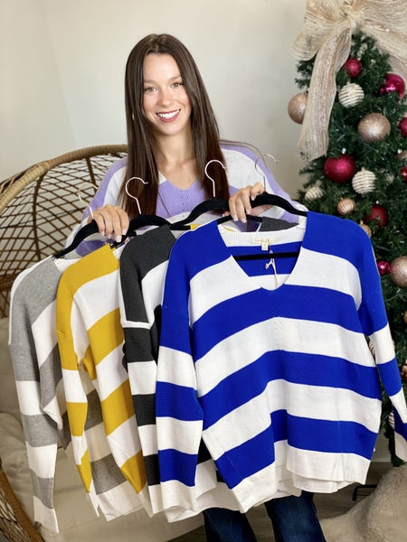 The Striped V Pullover - 5 Colors