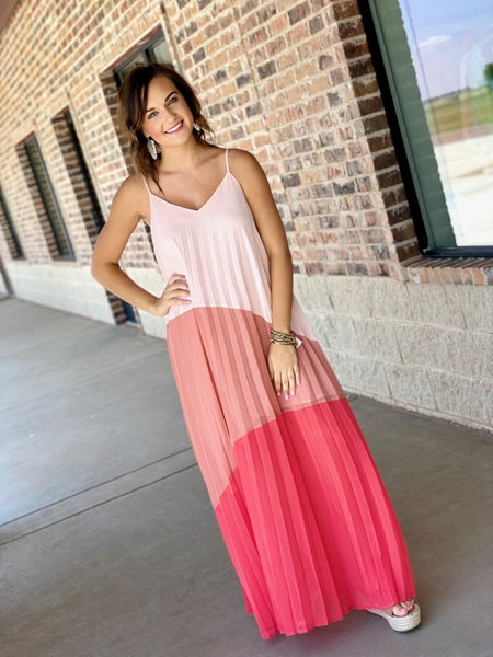 The Color Block Pleated Maxi