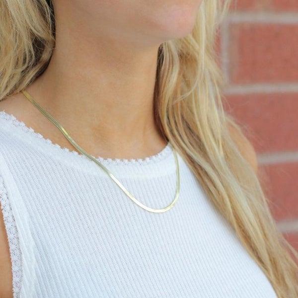 Skinny Gold Herringbone Necklace