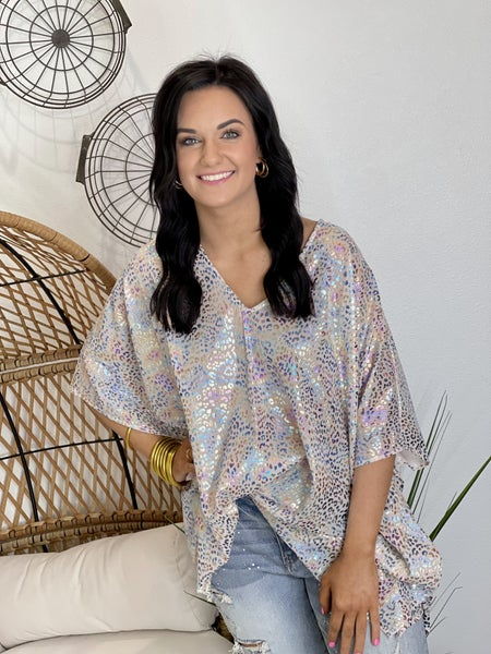 The Foiled Leo Poncho Top