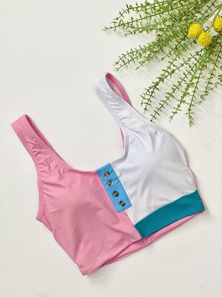Colorblock Pink Tankini Top
