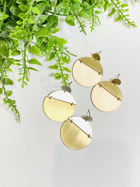 Hinged Double Disc Earrings-2 Options