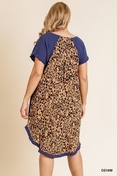 The CURVY Leo Back Dress in Blue