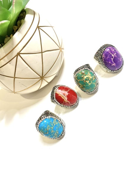 Veined Bling Rings in Silver-Colors