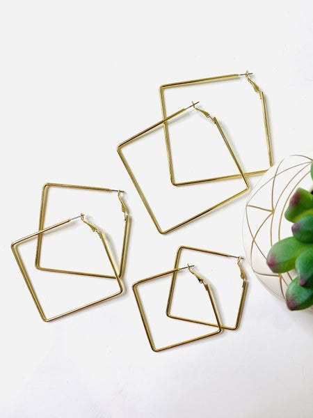 The Squared Up Earrings- 3 Sizes