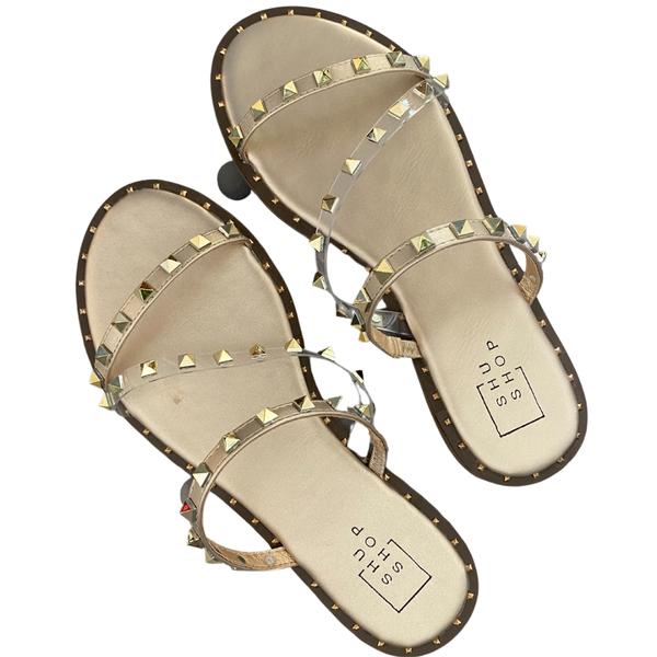 The Gold Belara Studded Sandals