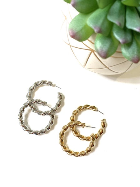 The Braided Hoops-2 Colors