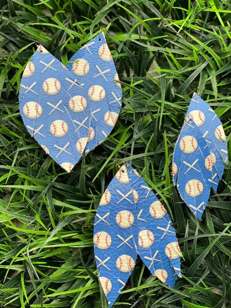 Baseball Blues Leather Earrings