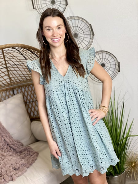 The Seafoam Eyelet Babydoll Dress