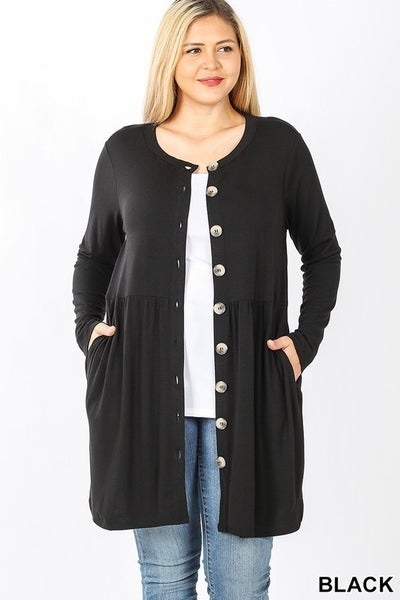 STEAL CURVY Button Front Cardi