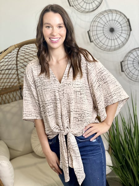 The Crackle Kimono Tie Top