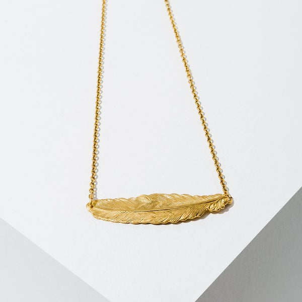 Gold Fine Feather Necklace