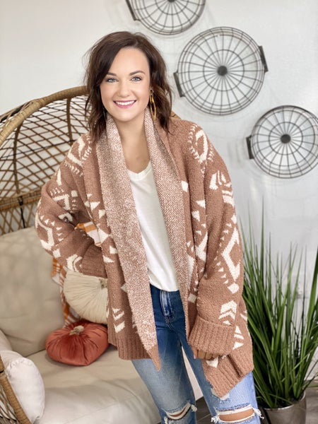 The Cozy Tribe Cardigan in Camel