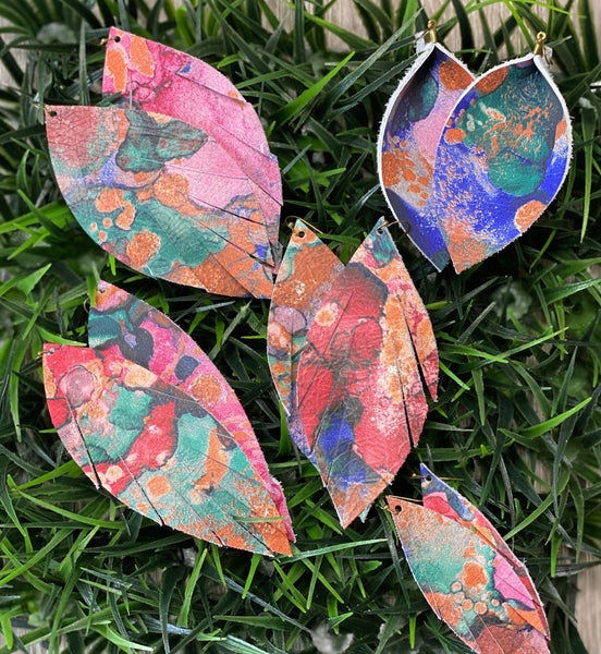 Bold Watercolor Leather Earrings