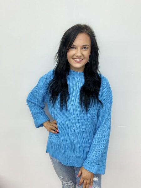 The Harper Chunky Sweater in Aqua