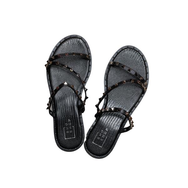 The Black Belara Studded Sandals