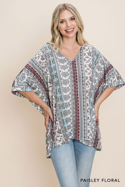 The Floral Paisley Poncho Top
