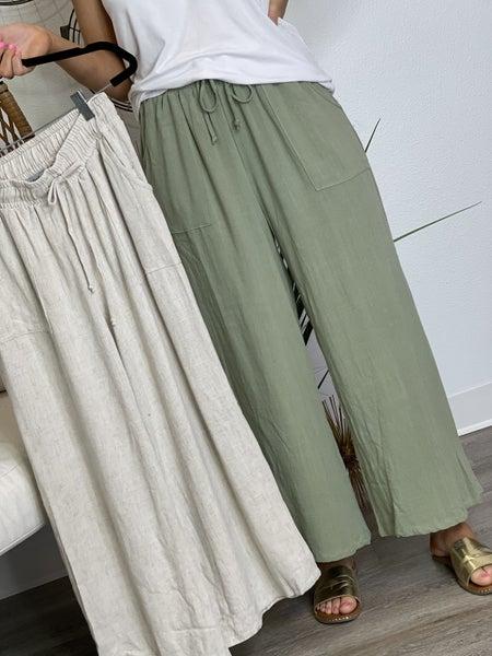 The Linen Crop Pants-2 Colors