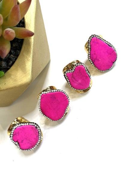 Blinging Pink Vein Rings