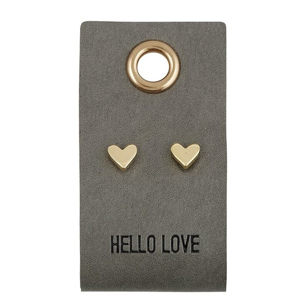 Heart Leather Tag Earrings